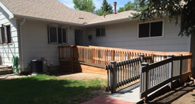 Wheelchair ramp installed for a private home in Colorado Springs, CO.